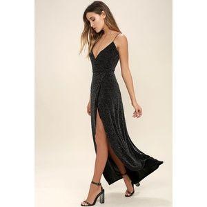 NWT Lulu's Celestial Black & Silver Wrap Dress